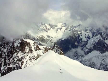 view towards the Chamonix Aiguilles and Drus